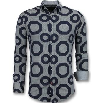 textil Herr Långärmade skjortor Tony Backer Skjorta Slim Fit Skjorta Mönstrad Blå
