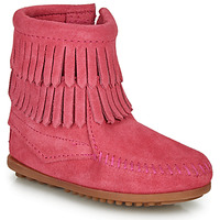 Skor Flickor Boots Minnetonka DOUBLE FRINGE SIDE ZIP BOOT Rosa