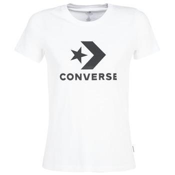 textil Dam T-shirts Converse STAR CHEVRON Vit