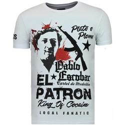 textil Herr T-shirts Local Fanatic El Patron Pablo Rhinestone W Vit