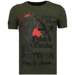 textil Herr T-shirts Local Fanatic El Patron Pablo Rhinestone K Khaki Grön