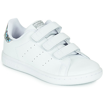 Skor Flickor Sneakers adidas Originals STAN SMITH CF C Vit / Silverfärgad