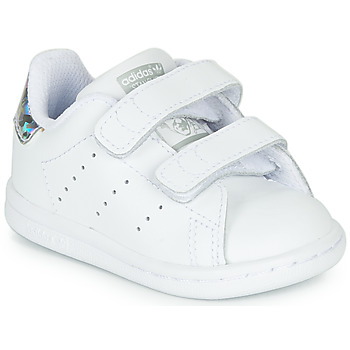 Skor Flickor Sneakers adidas Originals STAN SMITH CF I Vit / Silverfärgad