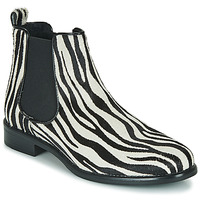 Skor Dam Boots Betty London HUGUETTE Svart / Vit / Zebra