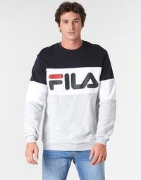 textil Herr Sweatshirts Fila STRAIGHT BLOCKED CREW Grå / Svart