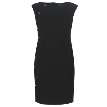 textil Dam Korta klänningar Lauren Ralph Lauren BUTTON-TRIM CREPE DRESS Svart