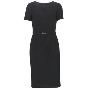 textil Dam Långklänningar Lauren Ralph Lauren BELTED SHORT SLEEVE DRESS Svart