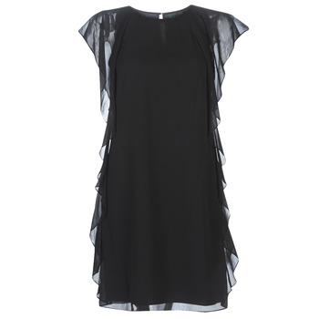 textil Dam Korta klänningar Lauren Ralph Lauren RUFFLED GEORGETTE DRESS Svart