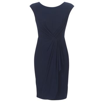 textil Dam Korta klänningar Lauren Ralph Lauren RUCHED CAP SLEEVE DRESS Marin