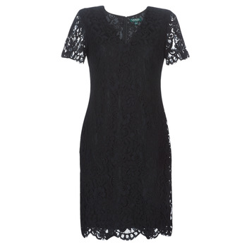 textil Dam Korta klänningar Lauren Ralph Lauren SCALLOPED LACE DRESS Svart
