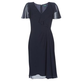 textil Dam Långklänningar Lauren Ralph Lauren CUTLER CAP SLEEVE DAY DRESS Marin