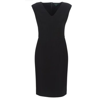 textil Dam Långklänningar Lauren Ralph Lauren BLACK CAP SLEEVE DAY DRESS Svart