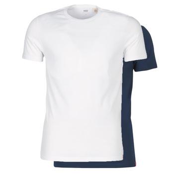 textil Herr T-shirts Levi's SLIM 2PK CREWNECK 1 Marin / Vit
