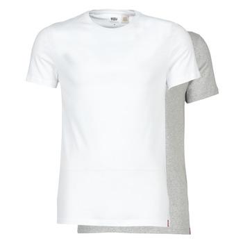 textil Herr T-shirts Levi's SLIM 2PK CREWNECK 1 Vit / Grå