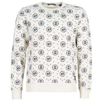 textil Herr Sweatshirts Scotch & Soda CREWNECK SWEAT WITH LOGO ALL-OVER PRINT Vit