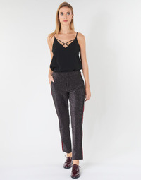 textil Dam 5-ficksbyxor Maison Scotch TAPERED LUREX PANTS WITH VELVET SIDE PANEL Grå