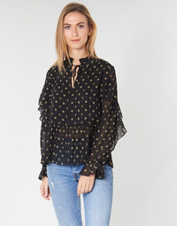textil Dam Blusar Maison Scotch SHEER PRINTED TOP WITH RUFFLES Svart