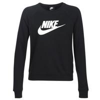 textil Dam Sweatshirts Nike W NSW ESSNTL CREW FLC HBR Svart