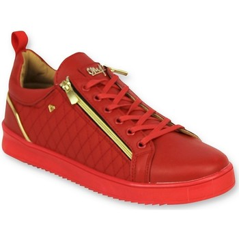 Skor Herr Sneakers Cash Money Lyxiga Herrskor Jailor Red Gold Röd