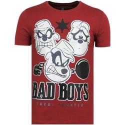 textil Herr T-shirts Local Fanatic Beagle Boys Rhinestones Rolig B Bordeaux