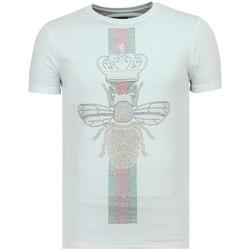 textil Herr T-shirts Local Fanatic King Fly Glitter För W Vit