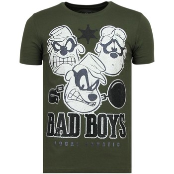 textil Herr T-shirts Local Fanatic Beagle Boys Rhinestones Rolig G Grön