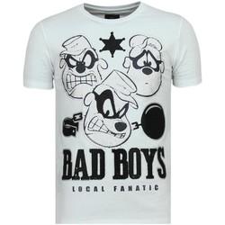 textil Herr T-shirts Local Fanatic Rhinestones Beagle Boys Rolig W Vit