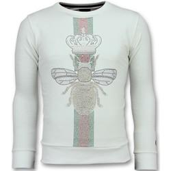 textil Herr Sweatshirts Local Fanatic King Fly Glitter Rhinestones Urringad W Vit