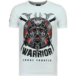 textil Herr T-shirts Local Fanatic Savage Samurai Rhinestones Roliga För W Vit