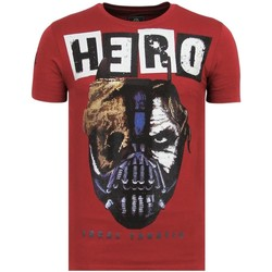 textil Herr T-shirts Local Fanatic Hero Mask Rhinestones Sommar B Bordeaux