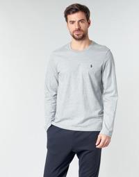 textil Herr Långärmade T-shirts Polo Ralph Lauren L/S CREW-CREW-SLEEP TOP Grå