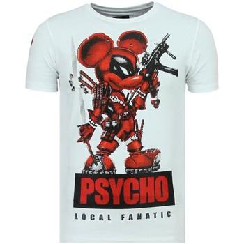 textil Herr T-shirts Local Fanatic Rhinestones Psycho Mouse Tryckt W Vit