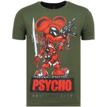textil Herr T-shirts Local Fanatic Psycho Mouse Rhinestones Tryckt G Grön