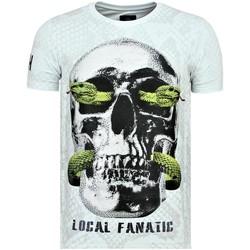 textil Herr T-shirts Local Fanatic Skull Snake Rhinestones Dödshuvudet Vit