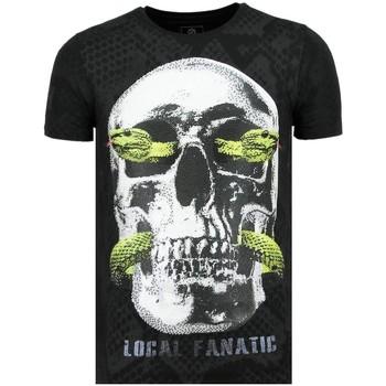 textil Herr T-shirts Local Fanatic Skull Snake Rhinestones Herrar Z Svart