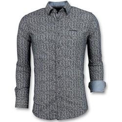 textil Herr Långärmade skjortor Tony Backer Lyxiga Italienska Pointed Star Blus Men Blå
