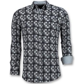 textil Herr Långärmade skjortor Tony Backer Italienska För Schess Motif Blouse Blå