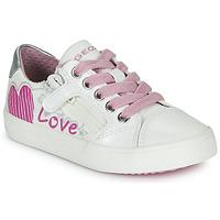 Skor Flickor Sneakers Geox J GISLI GIRL Vit / Rosa / Silverfärgad