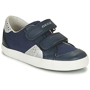 Skor Flickor Sneakers Geox B GISLI GIRL Marin / Silverfärgad