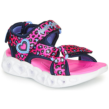Skor Flickor Sportsandaler Skechers HEART LIGHTS Rosa / Svart