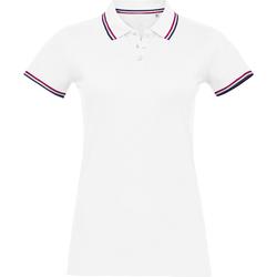 textil Dam Kortärmade pikétröjor Sols PRESTIGE MODERN WOMEN Blanco