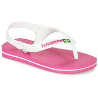 Skor Flickor Flip-flops Havaianas BABY BRASIL LOGO II Rosa / Vit