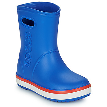 Skor Barn Gummistövlar Crocs CROCBAND RAIN BOOT K Blå / Röd