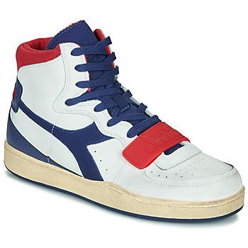 Skor Herr Höga sneakers Diadora MI BASKET USED Vit / Blå / Röd