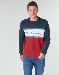 textil Herr Sweatshirts Ben Sherman COLOUR BLOCKED LOGO SWEAT Marin / Röd