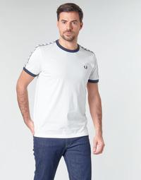 textil Herr T-shirts Fred Perry TAPED RINGER T-SHIRT Vit