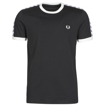 textil Herr T-shirts Fred Perry TAPED RINGER T-SHIRT Svart