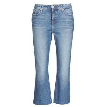 textil Dam Raka byxor Tommy Jeans KATIE CROP FLARE Blå