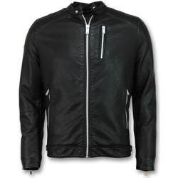 textil Herr Vindjackor Enos Skinnjacka Faux Leather Jacket Svart