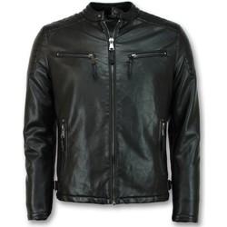 textil Herr Vindjackor Enos Skinnjacka Faux Leather Jacket Svart